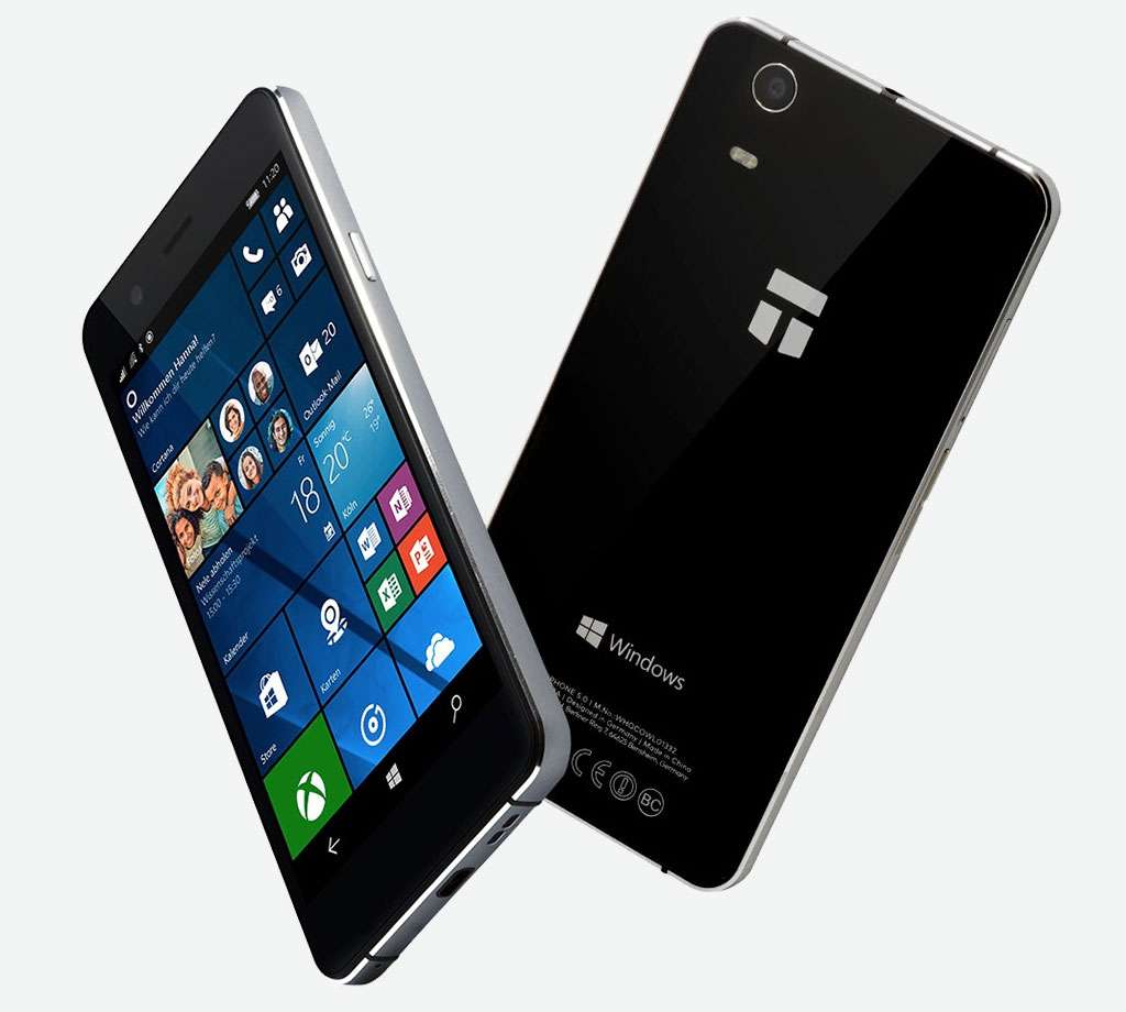 TrekStor Winphone 5.0: Windows 10 (mobile) Smartphone with 5 Zoll, Microsoft Continuum and Glas/Aluminium